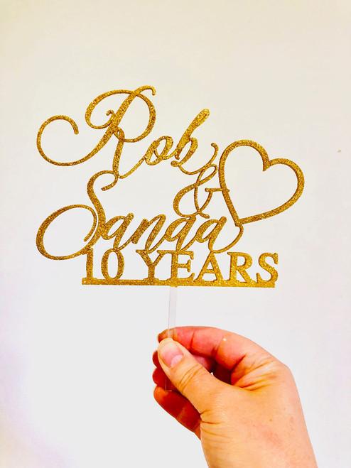 10th Wedding Anniversary Custom Cake Topper - made in Melbourne Australia