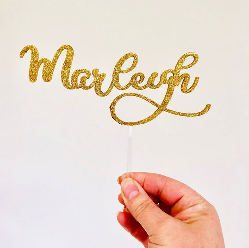Custom Name Cake Topper in gold glitter  - custom cake decoration