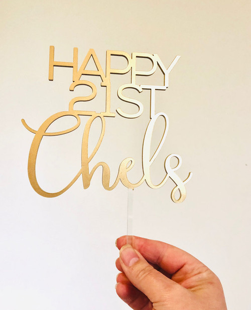 Custom birthday cake topper in metallic gold