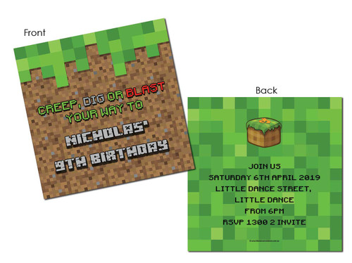 Minecraft party invitations