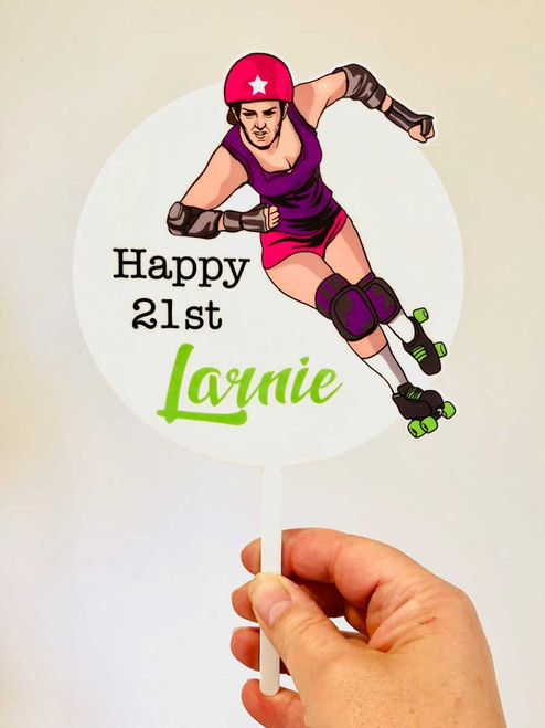 Roller Derby Personalised Cake Topper - Custom Roller Derby Birthday Cake Decoration - Laser Cut Printed Acrylic