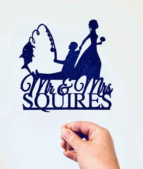 Bride dragging fishing groom cake topper - Funny Fisho themed wedding or engagement cake decoration