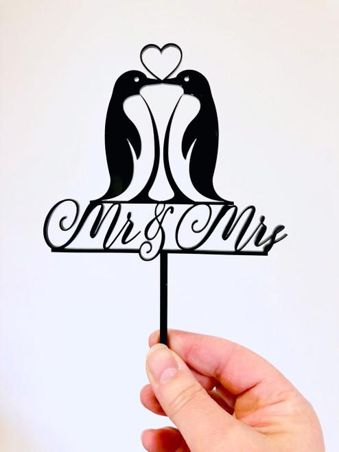 Penguin Love Mr & Mrs Wedding Cake Topper