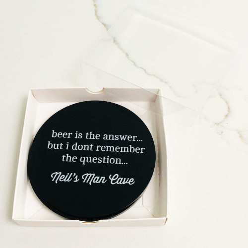 Beer is the answer custom drink coaster gift set