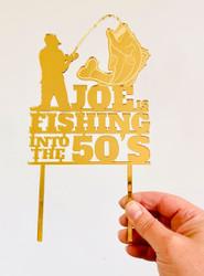 Fishing themed 50th birthday cake topper