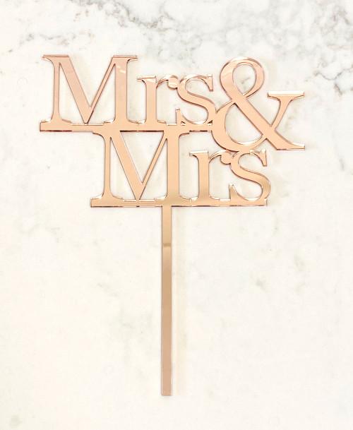 Mrs & Mrs Wedding Cake Topper - Laser cut Mr and Mrs Wedding Cake Decoration. Made in Australia