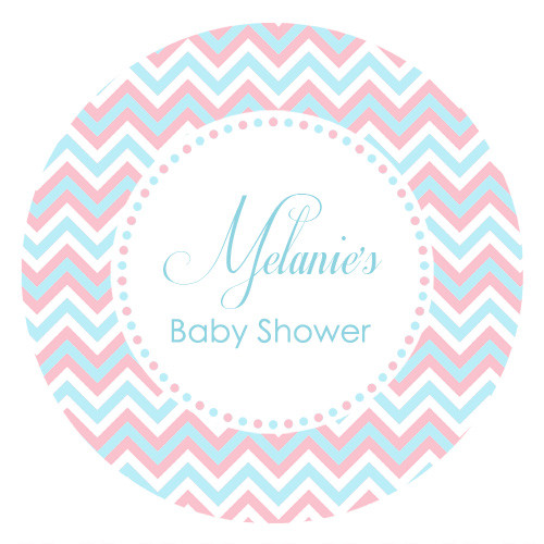 Round or Square Chevron baby shower stickers