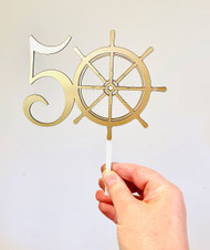 Nautical Ships Wheel with Age Custom Cake Topper