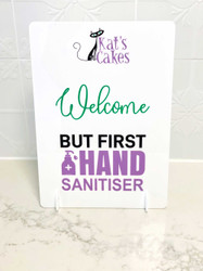 Shop counter hand sanitiser sign