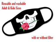 Skull with rose washable face mask
