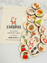 Make a Match Wooden Farm Matching Memory Game - Montessori Inspired - Waldorf Inspired - Christmas Theme Wood Toy - Natural Play - Wood Puzzle