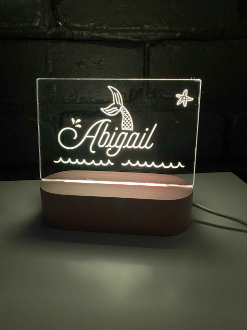 Custom name personalised mermaid night light