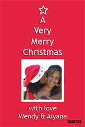 Christmas star on red background - personalised Christmas cards you can buy online.