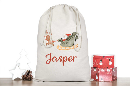 Personalised Santa with Reindeer Christmas Stocking Sack -