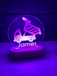 Personalised Dumptruck Nursery Light
