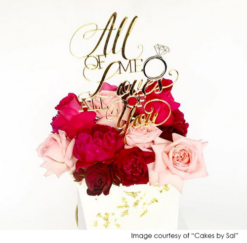 All of Me Loves All of You - Wedding or Engagement Cake Topper in Gold Mirror