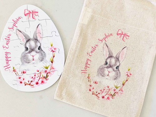Easter Bunny Personalised Puzzle with matching bag