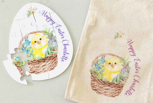 Easter Chick Personalised Puzzle with matching bag
