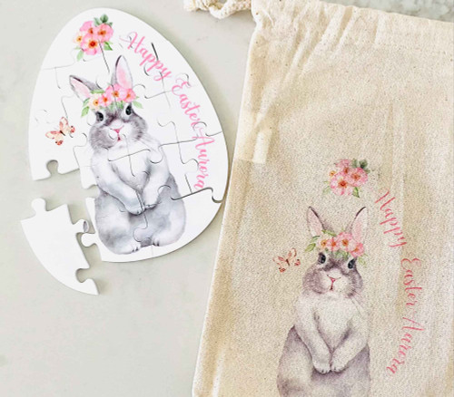 Girl Easter Bunny Personalised Puzzle with matching bag