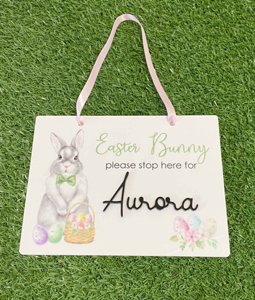 Easter Bunny Please Stop Here personalised sign