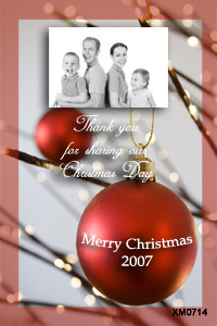 Baubles themed photcards for Christmas
