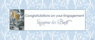 Personalised engagement party banner, blue brocade, champagne glass theme