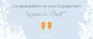 Personalised engagement party banner, blue background, champagne theme