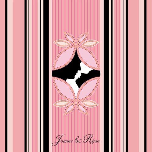 Pink & Black Silhouette Wedding Invitation