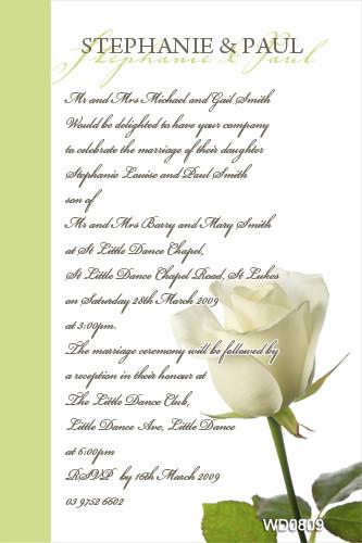 Single White Rose Wedding Invitation