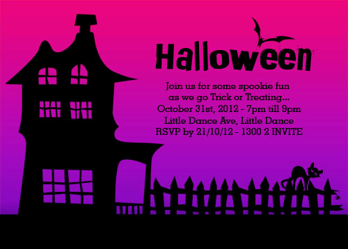 Haunted house themed personalised Halloween trick or treating party invitation