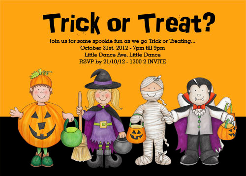 Personalised Halloween trick or treating party invitation
