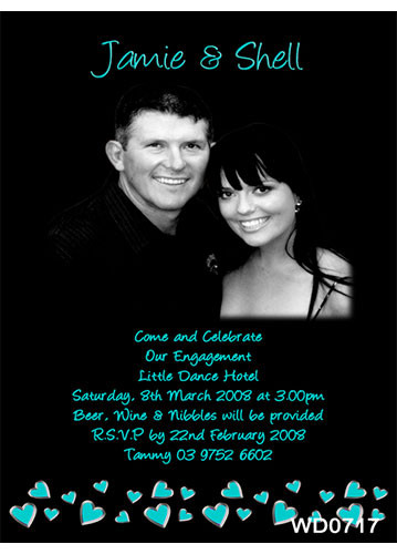 Aqua Hearts Wedding Invitation