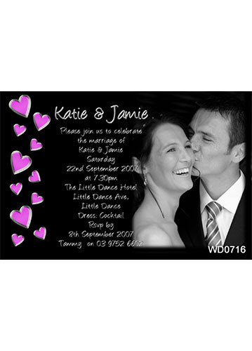 Fushia Hearts Wedding Invitation