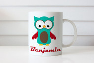 Kids personalised coffee mug or cup with name - Benjamin owl theme. For sale online in Australia