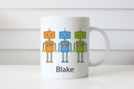 Personalised coffee mug or cup with name - robots theme. For sale online in Australia. Made in Melbourne.