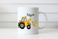 Personalised coffee mug or cup with name - construction digger theme. For sale online. Made in Melbourne Australia