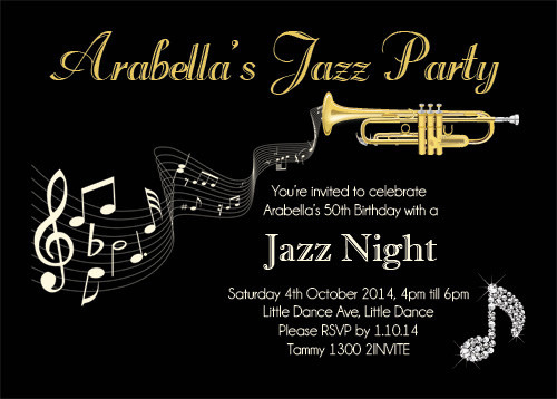 50th Birthday Jazz Party Invitations