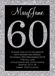 Glitter effect personalised 60th birthday party invitation
