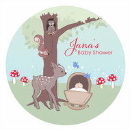 Personalized & custom baby shower party Labels & Stickers - baby forest animals theme. For sale in Australia - order online