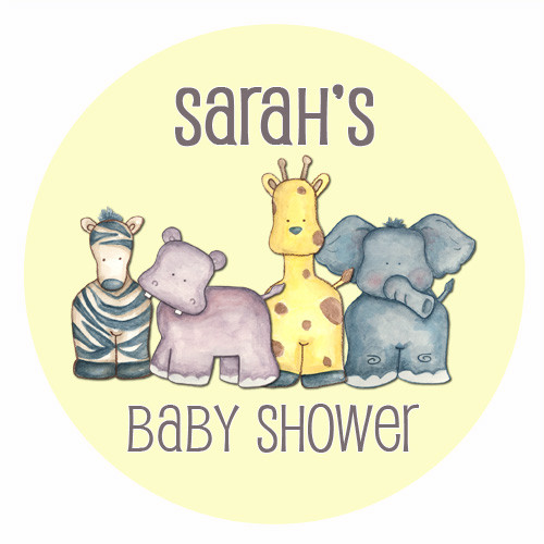 Personalized & custom baby shower party Labels & Stickers - baby safari animals theme. For sale in Australia - order online