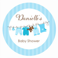 Personalized & custom baby shower party Labels & Stickers - boys blue clothes line theme. For sale in Australia - order online
