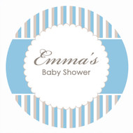 Personalized & custom baby shower party Labels & Stickers - blue stripes design. For sale online in Australia