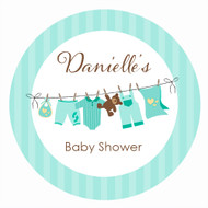 Personalized & custom baby shower party Labels & Stickers - green clothesline design. For sale online in Australia