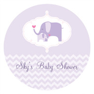 Personalized & custom baby shower party Labels & Stickers - gender neutral lilac elephant theme. For sale online in Australia