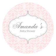 Personalized & custom baby shower party Labels & Stickers - pink damask theme. For sale in Australia - order online