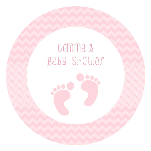 Personalized & custom baby shower party Labels & Stickers - pink footprints theme. For sale in Australia - order online