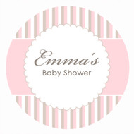 Personalized & custom baby shower party Labels & Stickers - pink stripes theme. For sale in Australia - order online