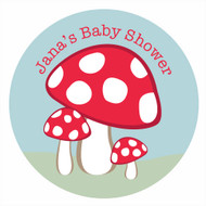 Personalized & custom baby shower party Labels & Stickers - fantasy toadstool theme. For sale in Australia - order online