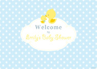 Personalized baby shower banner - little duck on blue theme - Australian banner shop