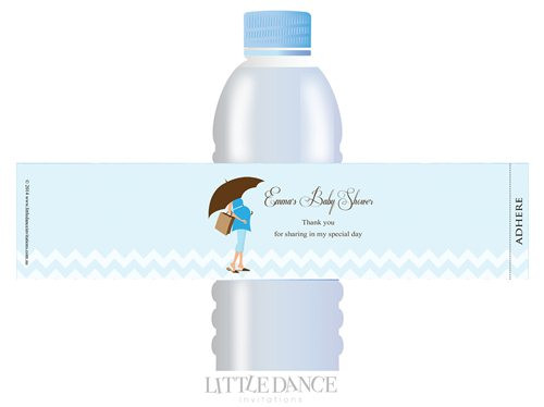 Blue Mum to Be theme personalised & custom baby shower water bottle labels for sale. Order online in Australia